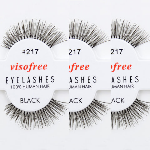 12 pairs/lot Visofree Eyelashes 100% Human Hair Handmade False Eyelashes Messy Nature Eye Lashes #217 maquiagem