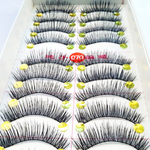 10Pair Makeup Thick False Eyelashes Eyelash Cross Naturally False Eyelashes Soft Big Eyes Fake Eyelashes Extension Beauty Tools