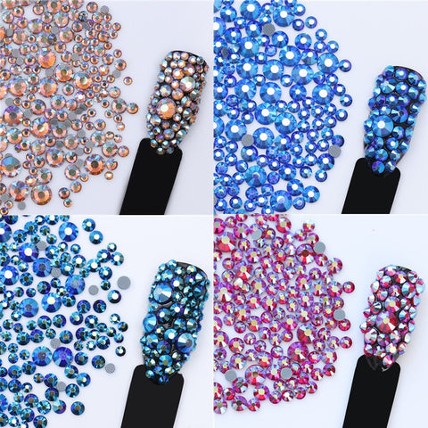1 Bag 5.5g Nail Art Rhinestone Crystal Champagne Color Multi-size Flat Bottom Manicure 3D Nail Art Decorations