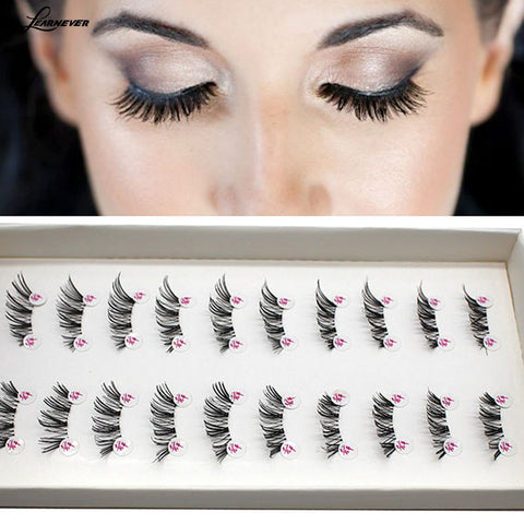 LEARNEVER NEW 10 Pairs HALF/MINI/CONER WINGED CROSS False eyelashes SOFT eye lashes  M02679