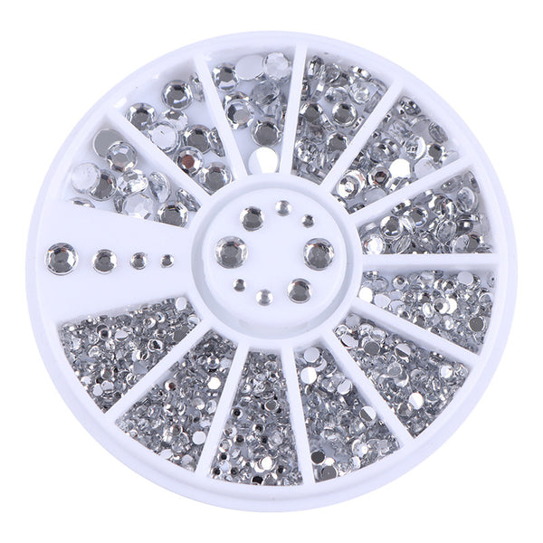 400Pcs Nail Art Stud Silver Round Rhinestoned Acrylic UV Gel 1.2mm 2mm 3mm 4mm 3D Nail Decorations in Wheel