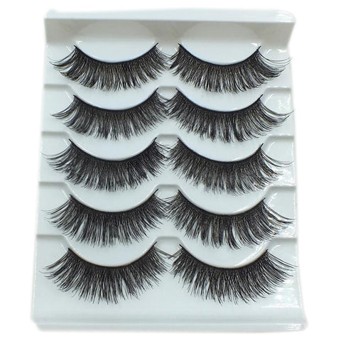 5Pairs Makeup Long Thick Cross False Eyelashes Smokey Big Eyes Eye Lashes Extension Tools New