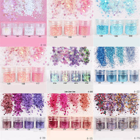1 Box 10ml Mixed Color Size Nail Glitter Powder Tips Colorful Nail Art Sequins Powder Super Makeup Glitter Manicure Nail Powder