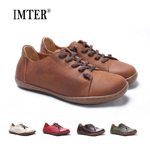 (35-42)Women Shoes Flat 100% Authentic Leather Plain toe Lace up Ladies Shoes Flats Woman Moccasins Female Footwear (5188-6)