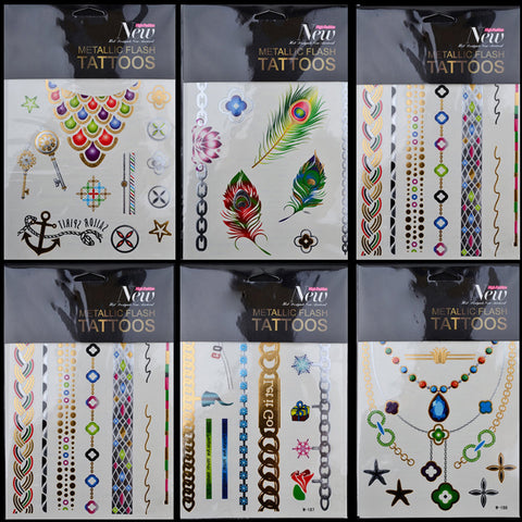 (SALE) 3Pcs/set Large Colorful Metallic Temporary Tattoo Feather Necklace Waterproof Tattoo Sticker Sexy Body Art Tools