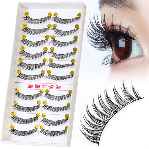 10 Pairs 100% Handmade Natural Long Curling False Eyelashes Eyes Makeup Cilios Lash Extension Black Fake Eyelash Beauty Tools