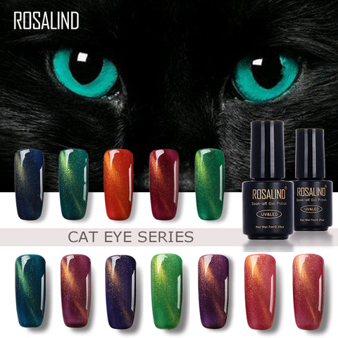 ROSALIND 7ML Black Bottle 3D Cat Eyes Magnet Nail Gel Polish Effect C01-30 UV LED Gel Nail Polish With Powder Glitter Nail Art