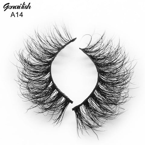 Genailish 3D Mink Eyelashes Fake Eyelashes Natural False Eyelashes Hand made Eye Lashes 19 Styles cilios naturais A14