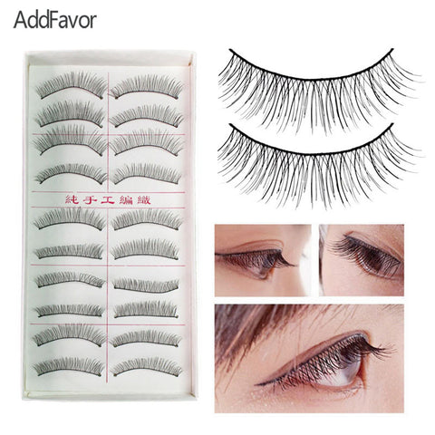 AddFavor 60Pack Handmade False Eyelash Natural Black Curl Eye Lashes Extensions Eyes Charming Makeup Tool Beauty False Eyelashes