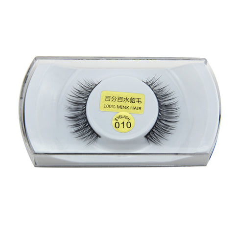 1 Pair Women Lady Black 100% Real Mink Soft Long Natural Thick Makeup Eye Lashes False Eyelashes