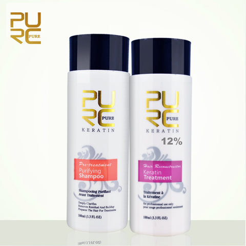 PURC 12% formalin keratin hair treatment and purifying shampoo hair care products set 2017 Brazilian keratin free shipping
