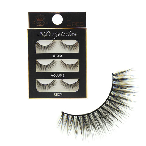 3 Pairs Natural Long 3D Fake Eye Lashes Handmade Thick False Eyelashes Makeup Extension Tools