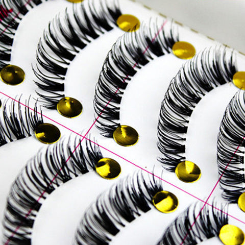 10Pairs Natural False Eyelashes Black Thick Fake Eyelashes Big Eyes Makeup Lash Extension Tools Strip Eyelashes For Eye Lashes
