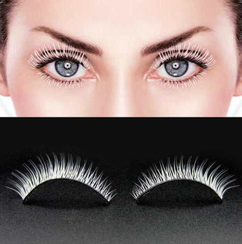 HBZGTLAD White Eyelashes Cosplay Makeup Natural Long Cross Strip False Eye Lashes