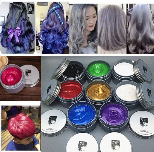 120g Unisex Color Hair WaxMud Hair Dye Molding Hair Styling Coloring Paste Grandma Gray Green Hair Dye Wax