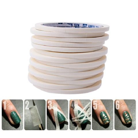 Blueness White 0.5cm*17m Nail Art Tape Rolls Nails Decoration Edge Guide Tips DIY Stickers Manicure Stripe Tools JH225