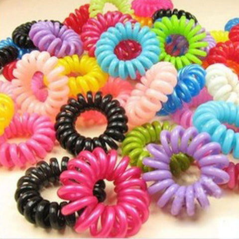 Wholesale 30pcs Mulit-color Telephone Wire Cord Girl Elastic Head Tie Hair Rope Hair Accessories Hair Styling Tools