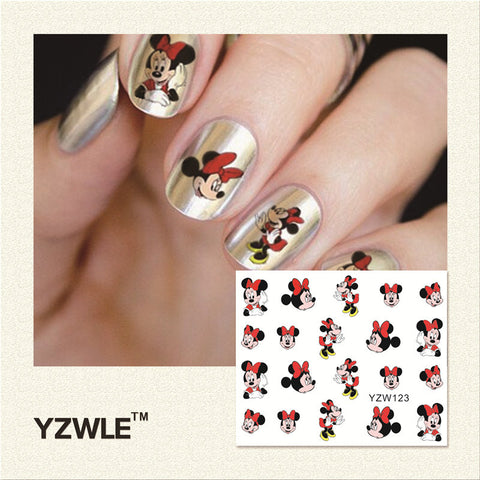 YZWLE 1Pcs Nail Art Water Sticker Nails Beauty Wraps Foil Polish Decals Temporary Tattoos Watermark(YZW123)