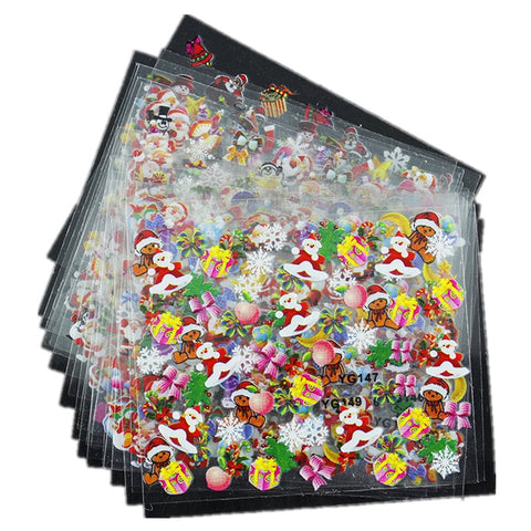 Top Nail 24 Pcs/Lot Beauty Christmas Design Bronzing Nail Art Sticker Decals 3D Manicure Stamping Stickers For Nails JH159