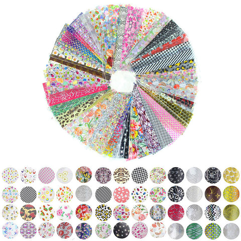 52 Sheet 20cm*4cm Mix Color Transfer Foil Nail Art Flower Design Sticker Decal For Polish Care DIY Free Shipping Nail Art WY209