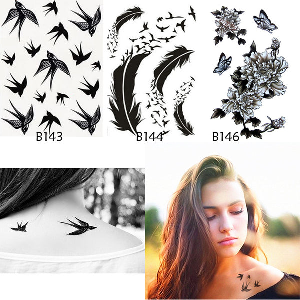 3Pcs Body Art Bird Feathers Rose Fake Tattoo Sticker Sex Products Tattoo Sleeve On His Arm Waterproof Temporary Tattoo Exotic