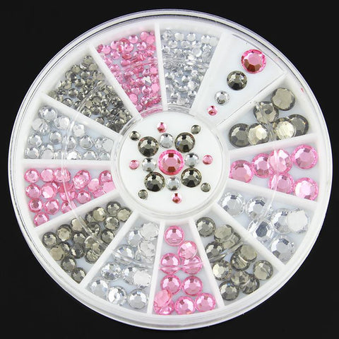 3D Nail Art Decorations White Pink Grey Women Glitters Diy Rhinestones For Nails Tools ZP151