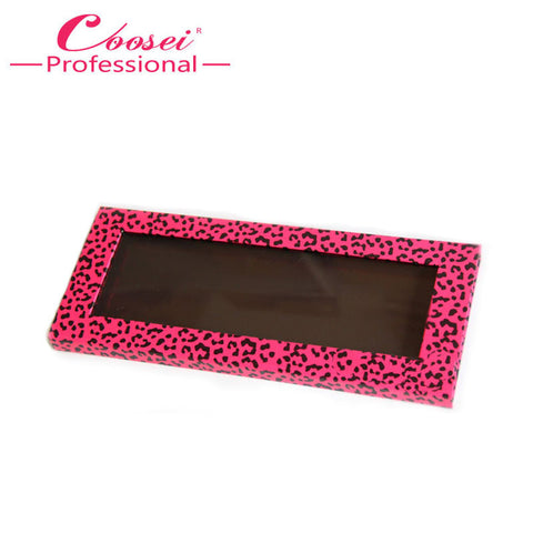 Free Shipping!2 pcs Empty Magnetic Makeup Set,Hot Pink Leopard Magnetic Eyeshadow Palette,Fill 12*36mm pans