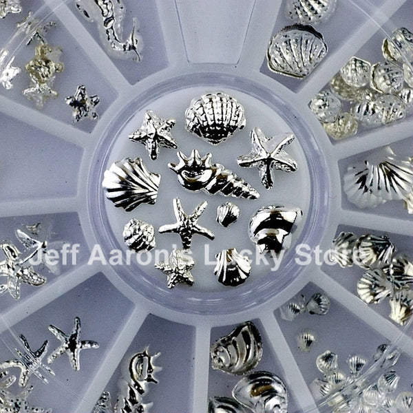 3D Silver Metal Nail Art Decoration Accessories Nail Supplies Wheel Manicure Beauty Tools Shell Conch Starfish Design