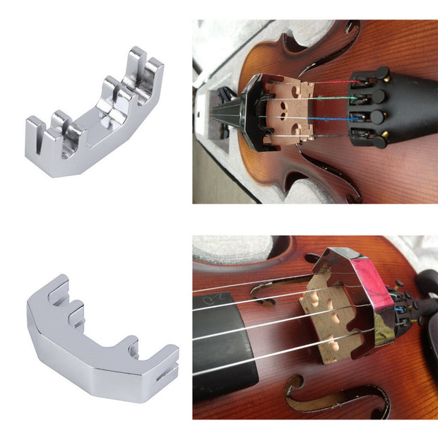 Mini Violin Practice Mute Metal Silver Fiddle Silent Silencer