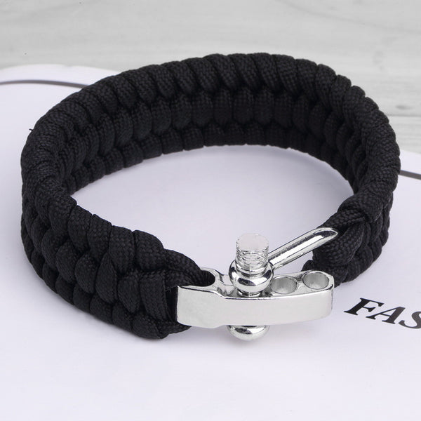Black ParaCord Rope Outdoor Survival Bracelet Camping Steel Shackle