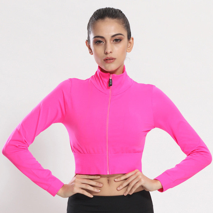 Women Autumn High Elastic Zipper Sports For Running Gym Workout