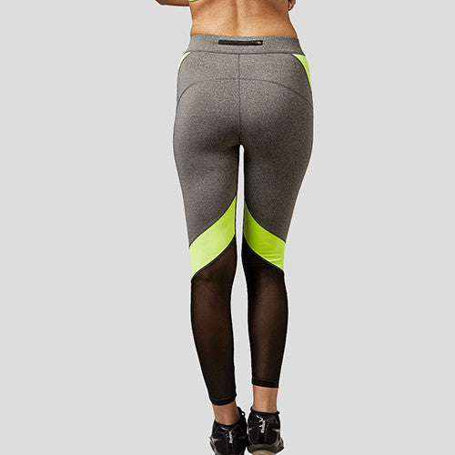 B.BANG Women Yoga Pants Hollow Out  Net Yarn Splicing Yoga Capris