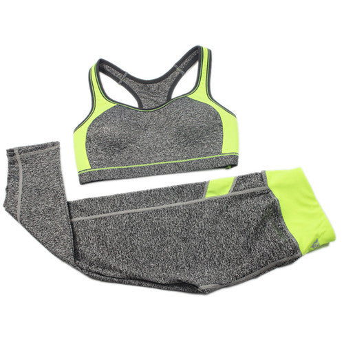 B.BANG Women Fitness Yoga Tracksuit Patchwork Padded Bra Tops And