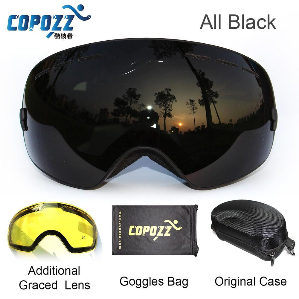 COPOZZ brand ski goggles 2 double lens anti-fog UV400 big large