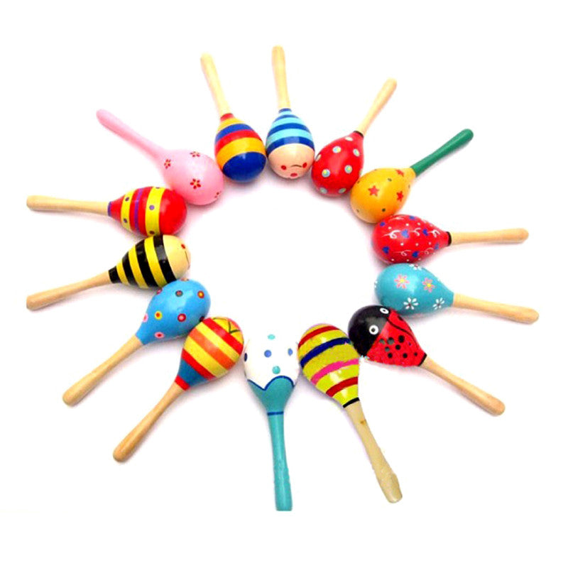 Cute Colorful Baby Toy Sand Hammer Kids Sound Music Toys Wooden Sand