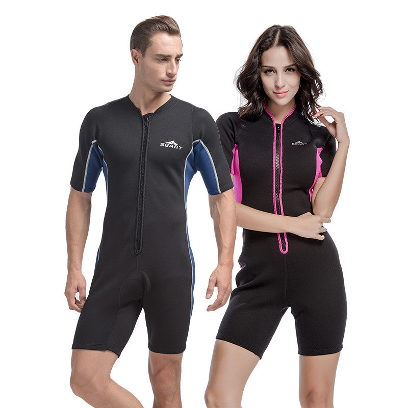 SBART Short Sleeve Neoprene Wetsuit For Swimming Spearfishing Wetsuits