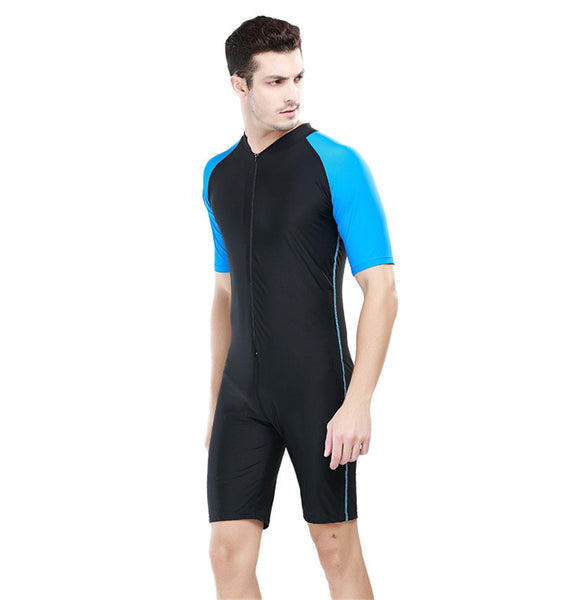 SBART Men's One Pieces Diving Suit Swimwear Kite Surfing Swimming Rashguard Swimsuit Short Sleeve UV Protection Wetsuit