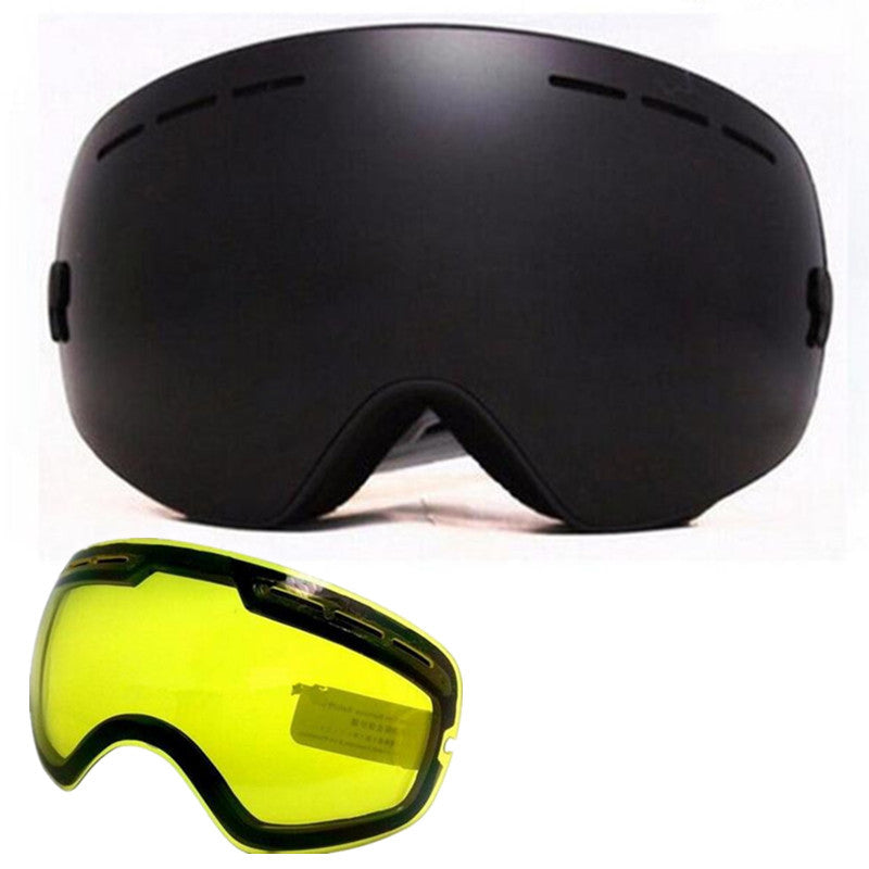 Benice snowboard goggles professional double anti fog big spherical