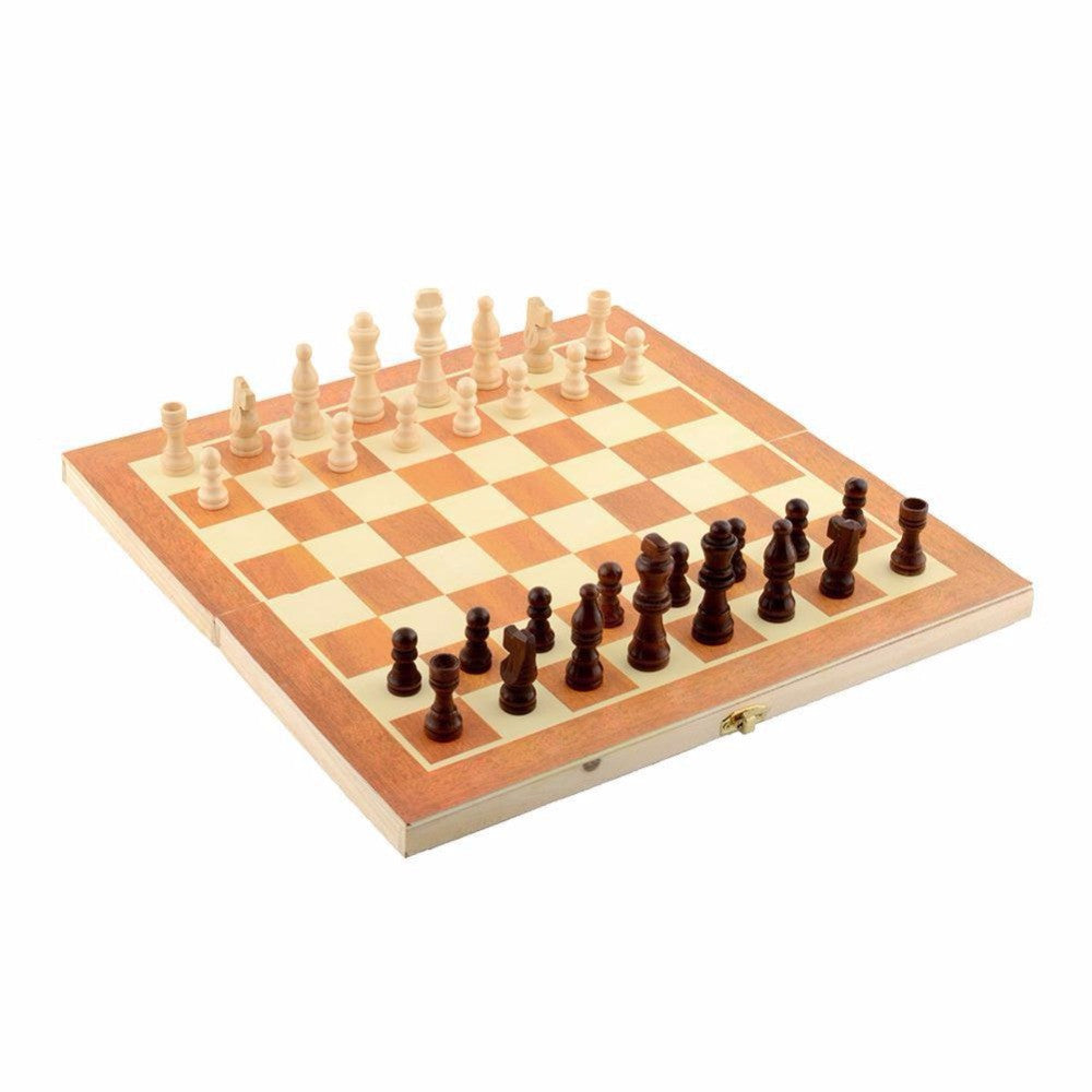Classic Wooden Chess Set Board Game 34cm x 34cm Foldable Portable Kids