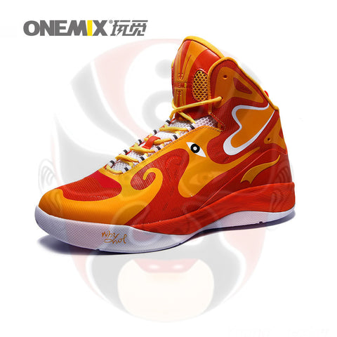 New Onemix Men Peking Opera Mask Basketball Shoes Ankle Boots Style Culture Sneakers for Male Breathable High-Top Rubber Shoes
