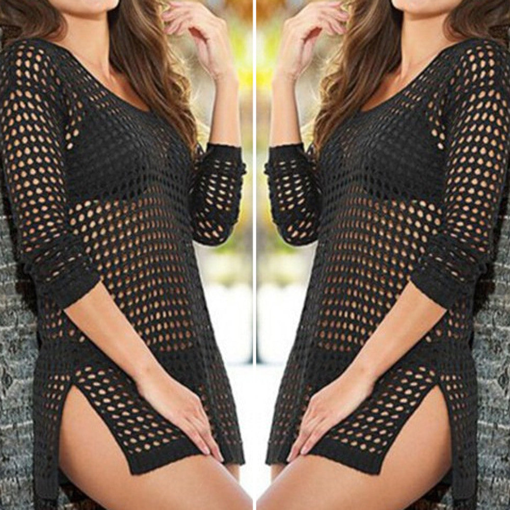 beach cover up Brand New Summer Women Sexy Mesh Knitted Crochet