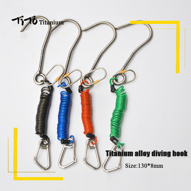 TiTo scuba diving titanium alloy diving hook Reef Drift Hook with Line