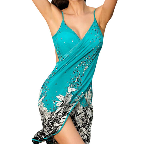 Sexy sling beach wear dress women 's sarong summer bikini cover-ups wrap Pareo skirts towel Open-Back swimwear