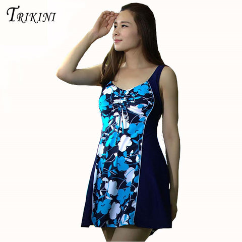TRIKINI Hot Spring Natural relaxed Dress Swimsuit  Extra Large Size Skirt  One Piece Floral Swimwear 2017 Brand