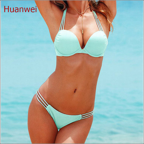 Light blue Swimwears Push Up Bikini Brazilian Sexy Bandage Beach Swimwear Ladies Swimsuit Bathing Suit Maillot De Bain 0190