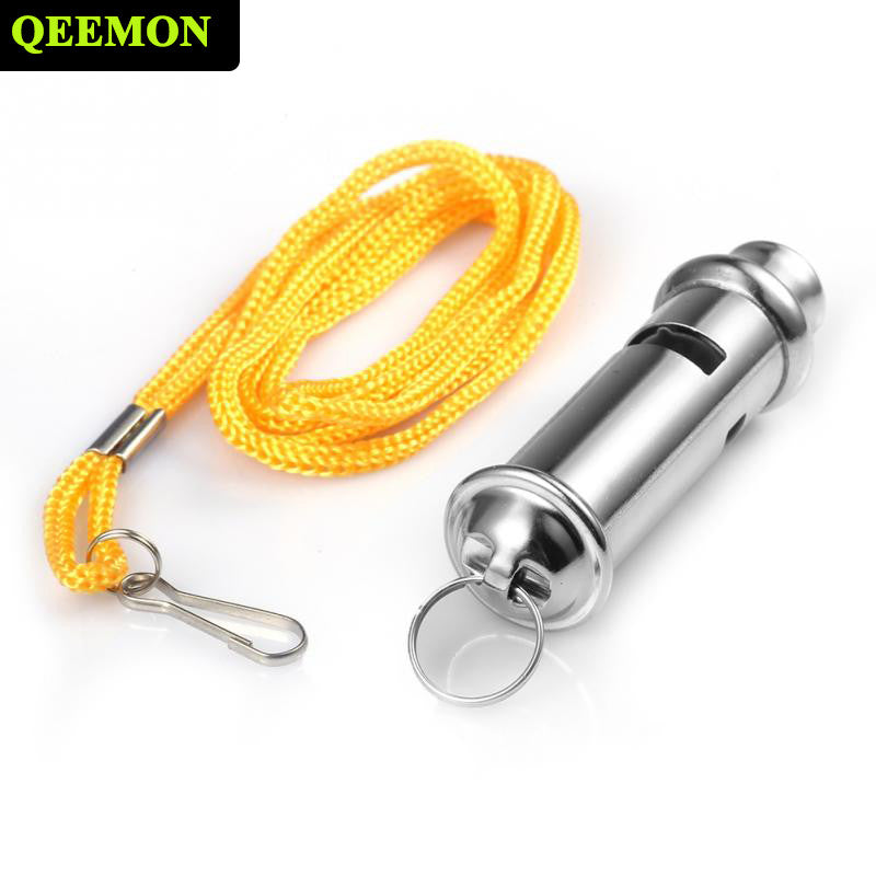 Camping Survival Whistle Long Silver Metal Whistle With Lanyard