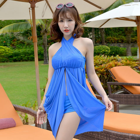 Modern Sexy Nylon Tankini Swimsuits Women 2015 Skirt Slim Swimwear 2 Piece Set Swim Suit Dress Hot Spring Bathing Suits M L XL