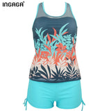 INGAGA Brand 2017 Tankini Swimwear Women Retro Two-piece Swimsuits Print Mesh Bathing Suits Beachwear