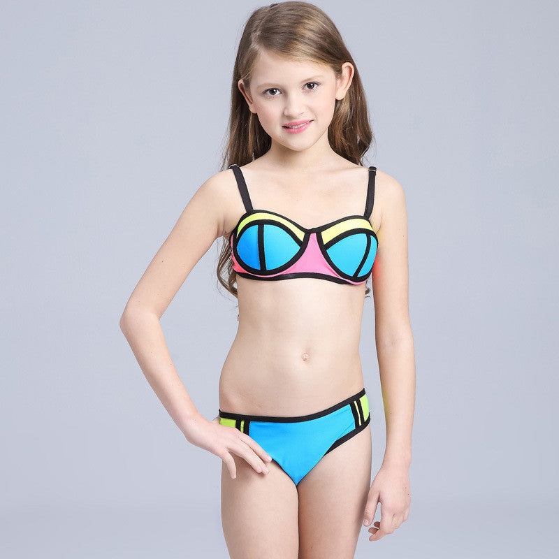 Brand 2016 hot sale Hit color stitching swimsuit For baby Girl
