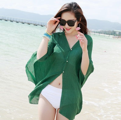 new summer chiffon printed loose cardigan shawl female thin beach Scarves scarf cardigan Chiffon sexy Bikini cover up